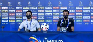 Doha, Sept. 20, 2020 (Xinhua) -- Head coach Xavi Hernandez (R) and Player Nam Tae-hee of Al Sadd attend a press conference ahead of the group D match of AFC Champions League between Al Sadd of Qatar and Al Nassr of Saudi Arabia in Doha, capital of Qatar, Sept. 20, 2020. (Photo by Nikku/Xinhua)