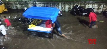 Hyderabad: Heavy rains left several parts of Hyderabad water-logged, on Oct 9, 2020. (Photo: IANS)