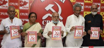Patna: CPI-M Bihar Secretary Abhdesh Kumar along with other leaders of the party, releases the election manifesto for the upcoming Bihar Assembly elections, in Patna on Oct 16, 2020. (Photo: IANS)