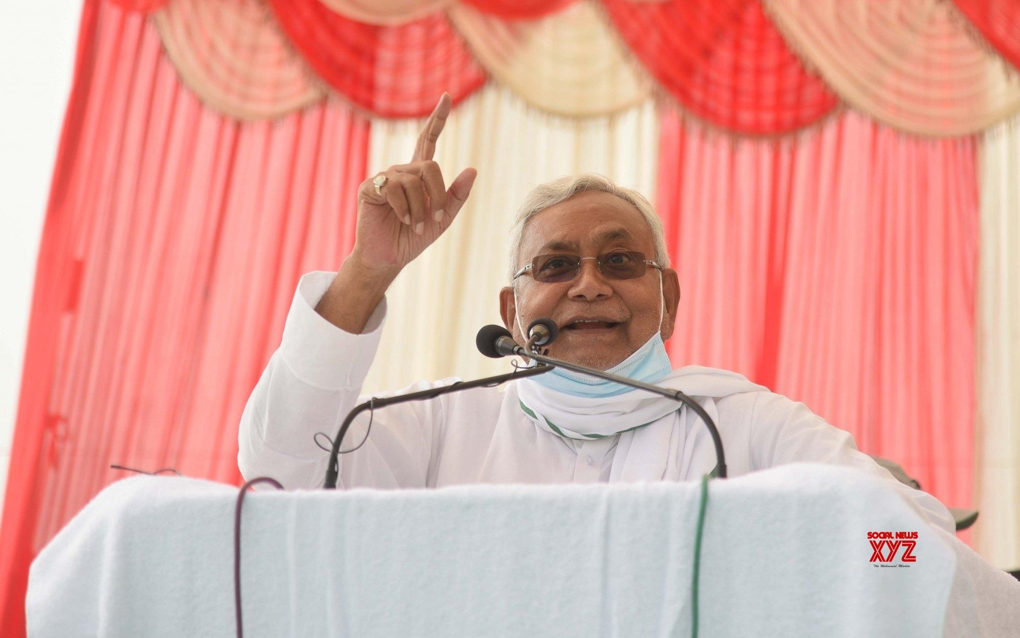 Buxar: Bihar Chief Minister Nitish Kumar addressing an election meeting #Gallery