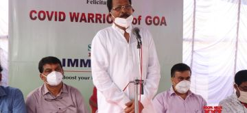 New Delhi: Union MoS AYUSH (I/C) Shripad Naik addresses the Corona Warriors at Bicholim in Goa on Oct 22, 2020 (Photo: IANS/PIB)