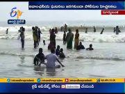 Karthika Masam | Huge Tourists Throng to Suryalanka Beach | at Guntur Dist  (Video)