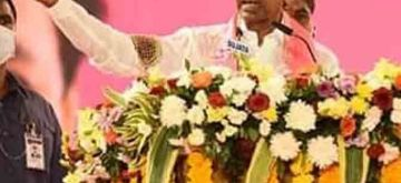 Hyderabad: Telangana Chief Minister and TRS President K. Chandrashekhar Rao addresses a public meeting in Hyderabad on Nov 28, 2020. (Photo: IANS)