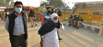 New Delhi: 82-year-old Bilkis Dadi, who became the face of the anti-CAA protests in Shaheen Bagh, made a cameo appearance at the Delhi-Haryana's Singhu border on the outskirts of the national capital to extend her support to the protesting farmers, on Dec 1, 2020. The Delhi Police was quick to send back Bilkis Dadi who became a popular face during the Shaheen Bagh protests and has been featured in Time Magazine's list of top 100 most influential personalities in the world. (Photo: IANS)