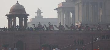 (190121) New Delhi: Soldiers rehearse for the Beating Retreat Ceremony at Vijay Chowk ahead of Republic Day, on January 19, 2021 in New Delhi, India  (Photo: Bidesh Manna/IANS)