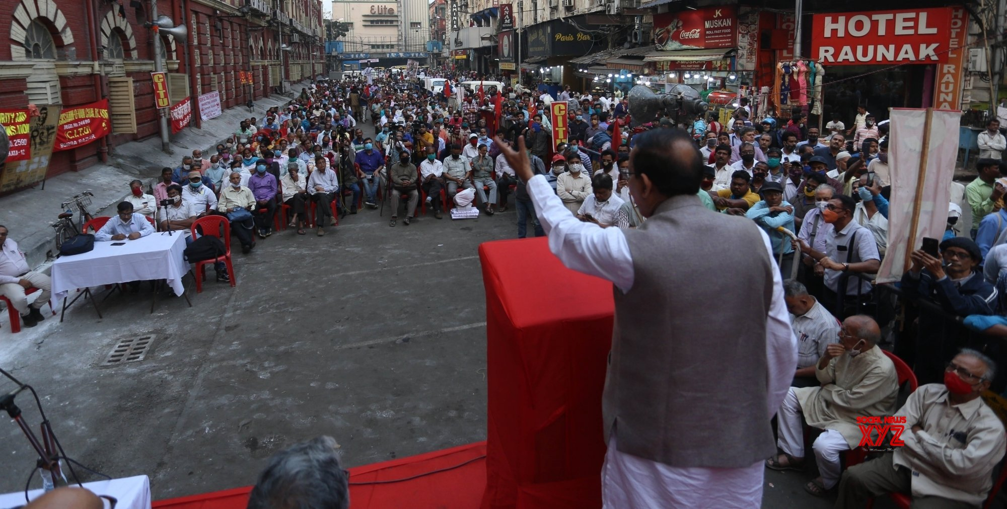 Kolkata: Left trade Union CITU activists participate in a protest meeting against the State Government in Kolkata - on Monday 22nd February 2021 #Gallery