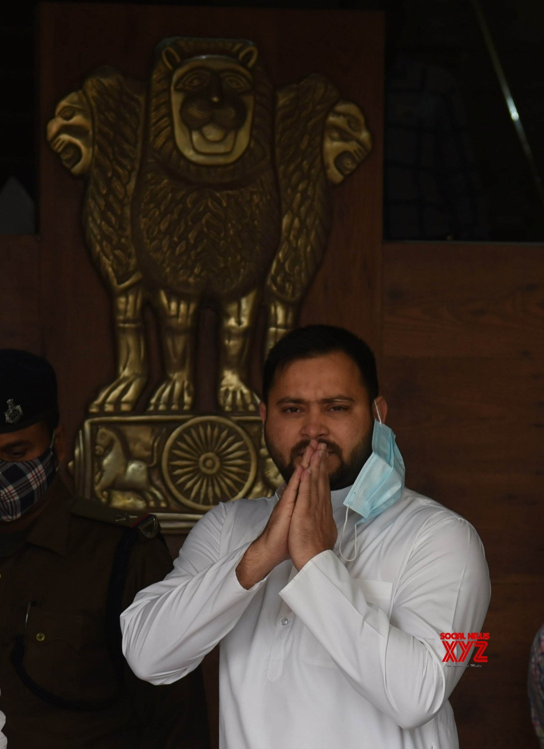 Bihar: RJD leader Tejashwi Yadav arrives during the ongoing Budget Session of Bihar Assembly in Patna on Tuesday 23rd, 2021 #Gallery