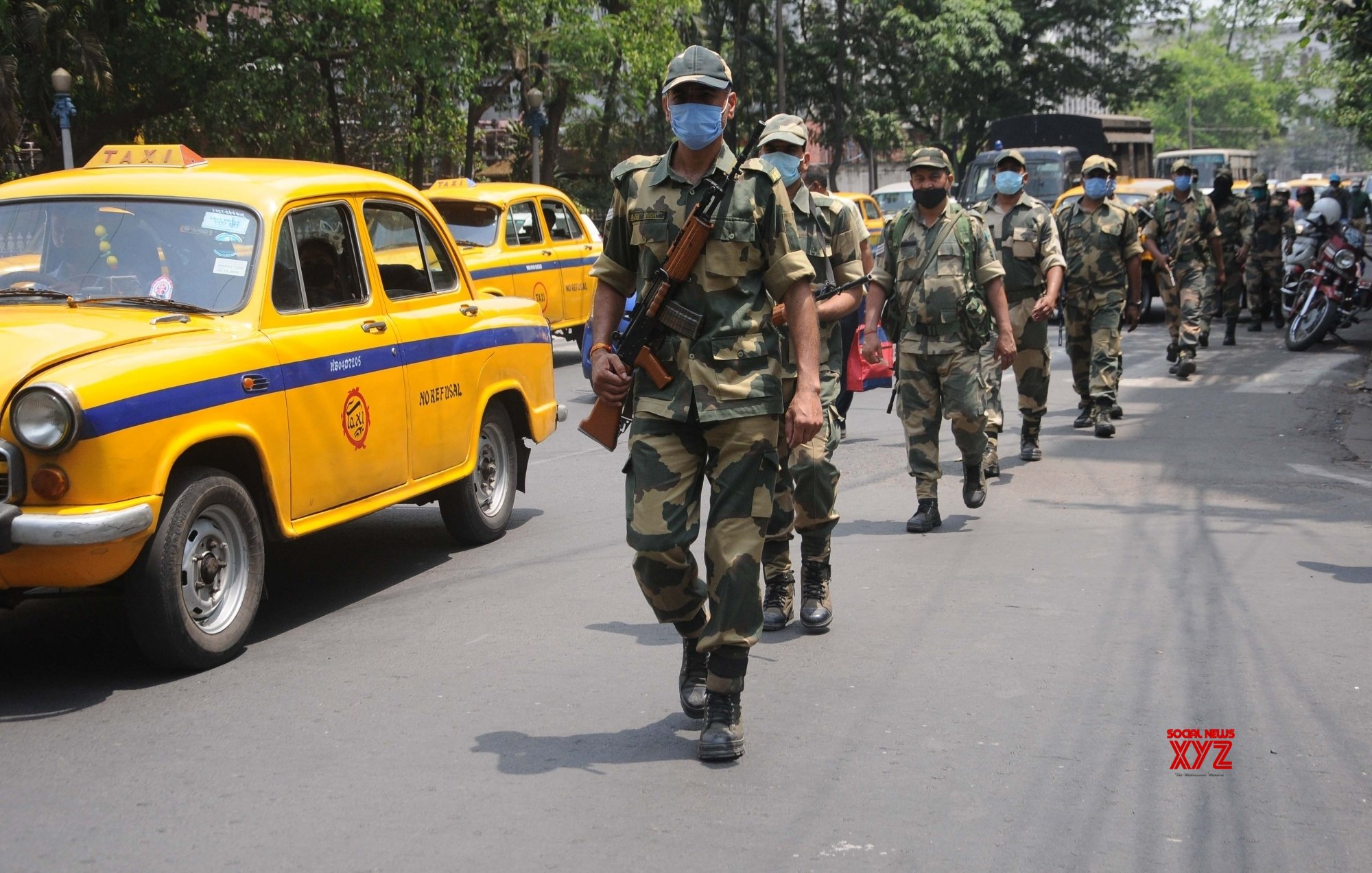 Kolkata:Paramilitary forces personnel conduct a route march ahead of the 4th phase of the State Assembly election in Kolkata. #Gallery
