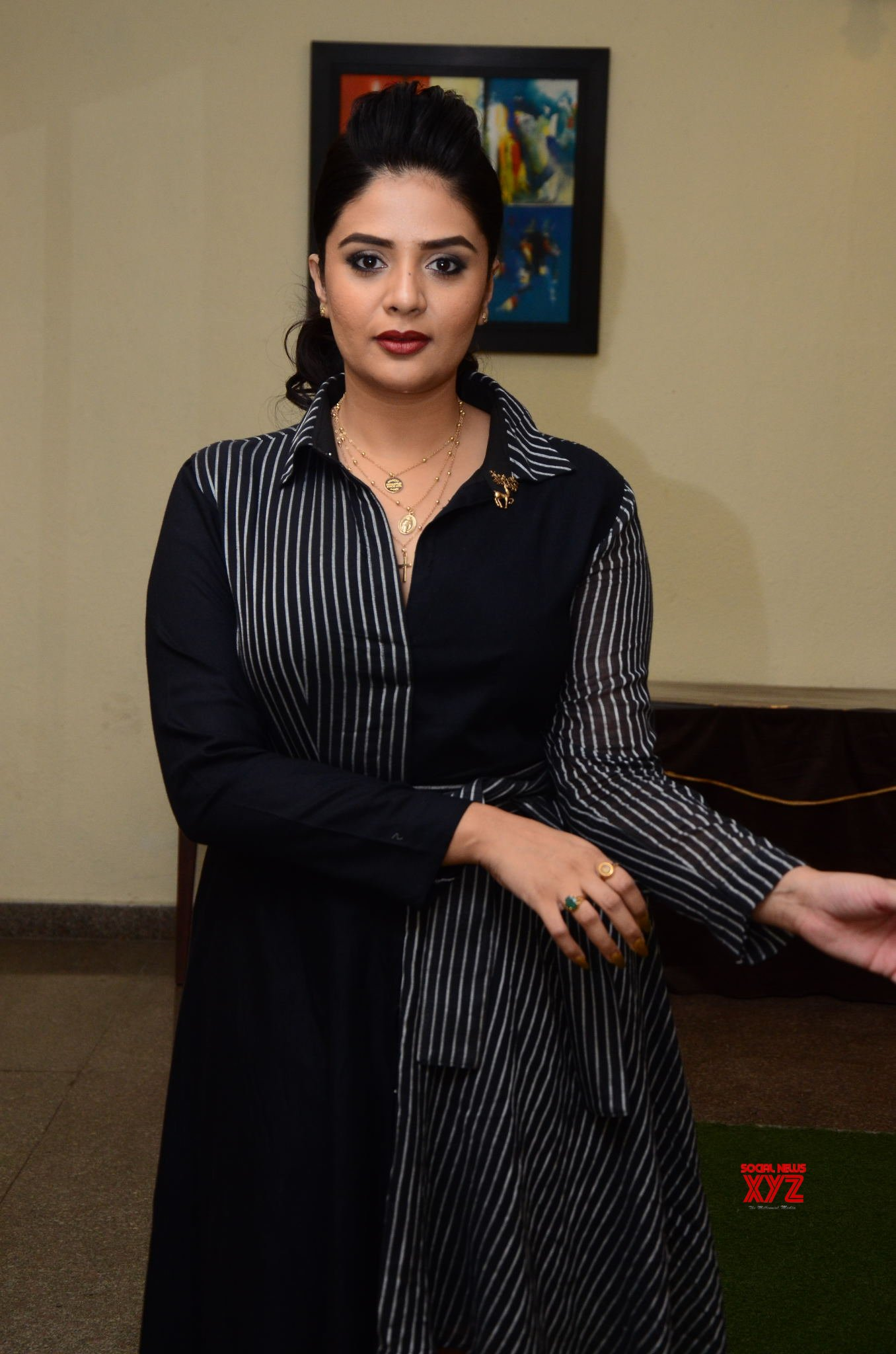 Actress Sree Mukhi Glam Stills From Pushpa Movie Introducing Pushpa Raj The First Meet Event