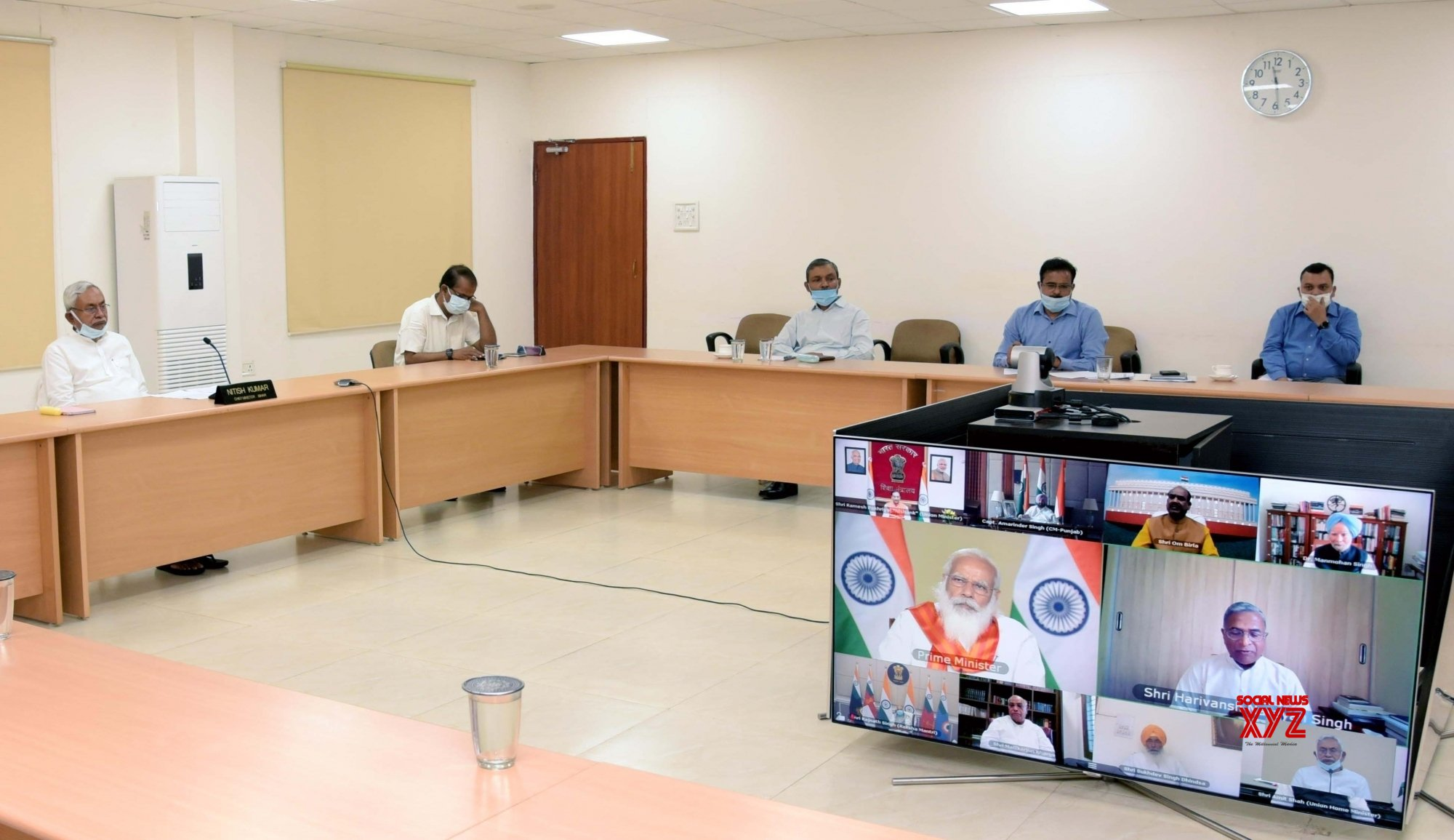 Patna: Bihar Chief Minister Nitish Kumar via video conferencing Prime Minister Narendra Modi attend a meeting of high level committee to commemorate 400th birth anniversary of Sri Guru Tegh Bahadur, In Patna on Thursday April 08,2021. #Gallery