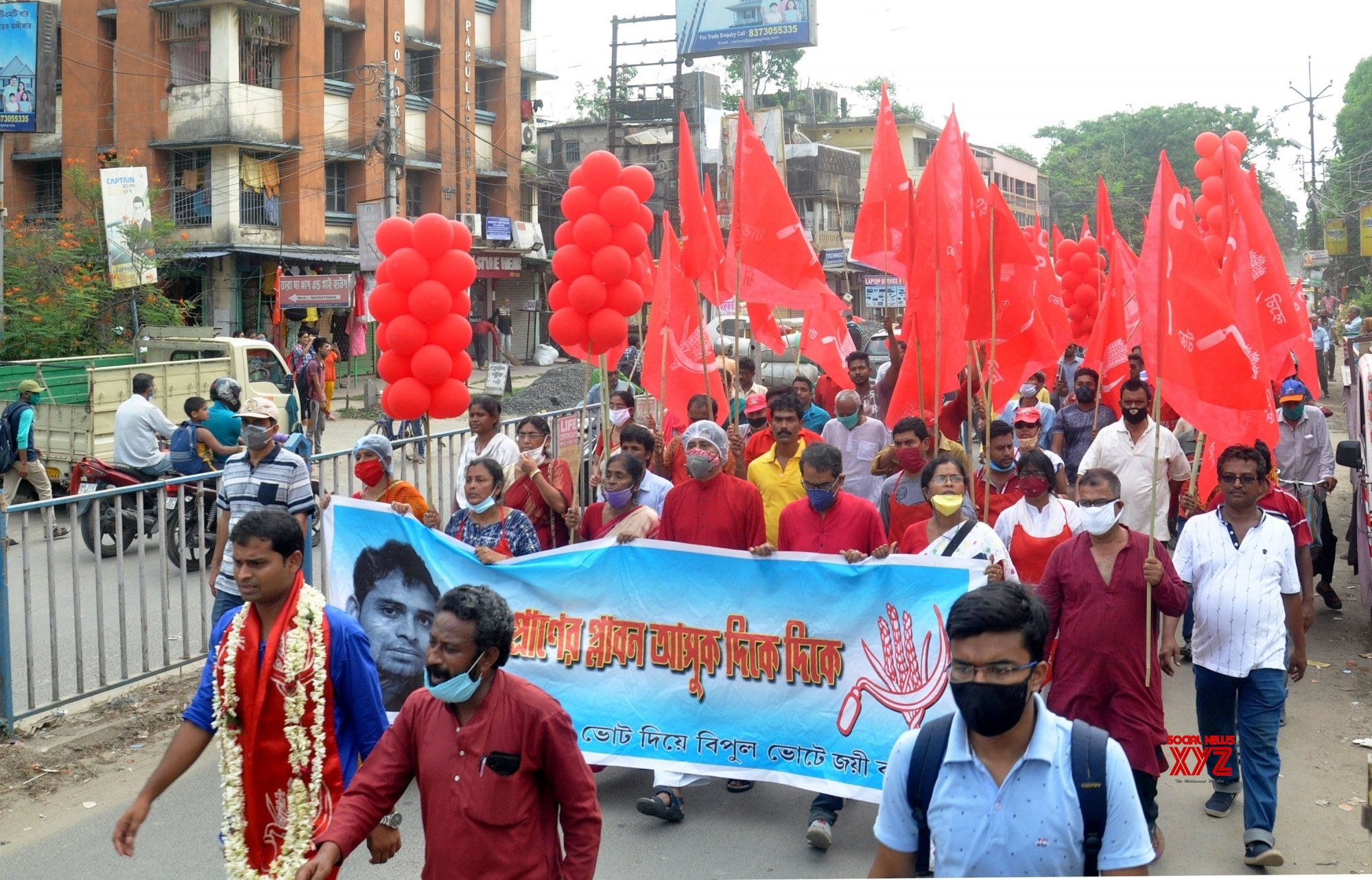 Kolkata: Sanjukta Morcha activists took part in a rally ahead of the 4th phase of the State Assembly election in Kolkata. #Gallery