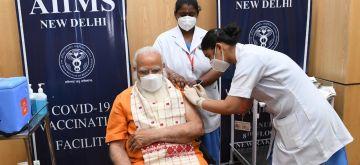New Delhi: Prime Minister Narendra Modi takes second dose of Covaxin at Delhi's AIIMS On Thursday,08 April, 2021.(photo:IANS)
