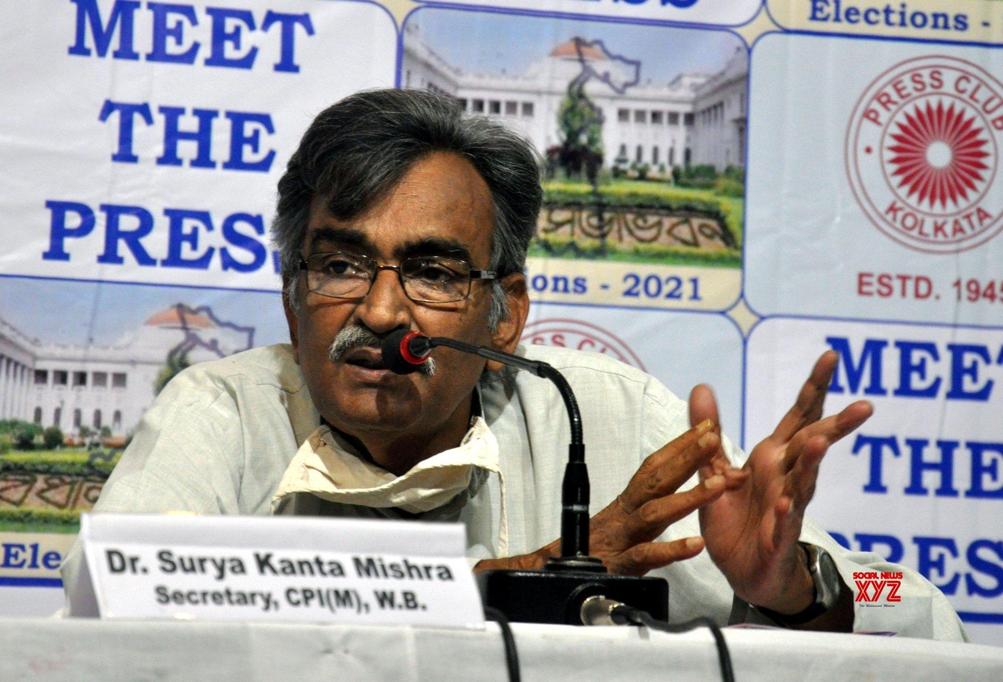 Kolkata: CPI(M) State Secretary Surja Kanta Mishra during meet the press in Kolkata. #Gallery