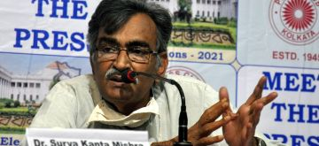 Kolkata: CPI(M) State Secretary Surja Kanta Mishra during meet the press in Kolkata on Apr 8, 2021. (Photo: Kuntal Chakrabarty/IANS)
