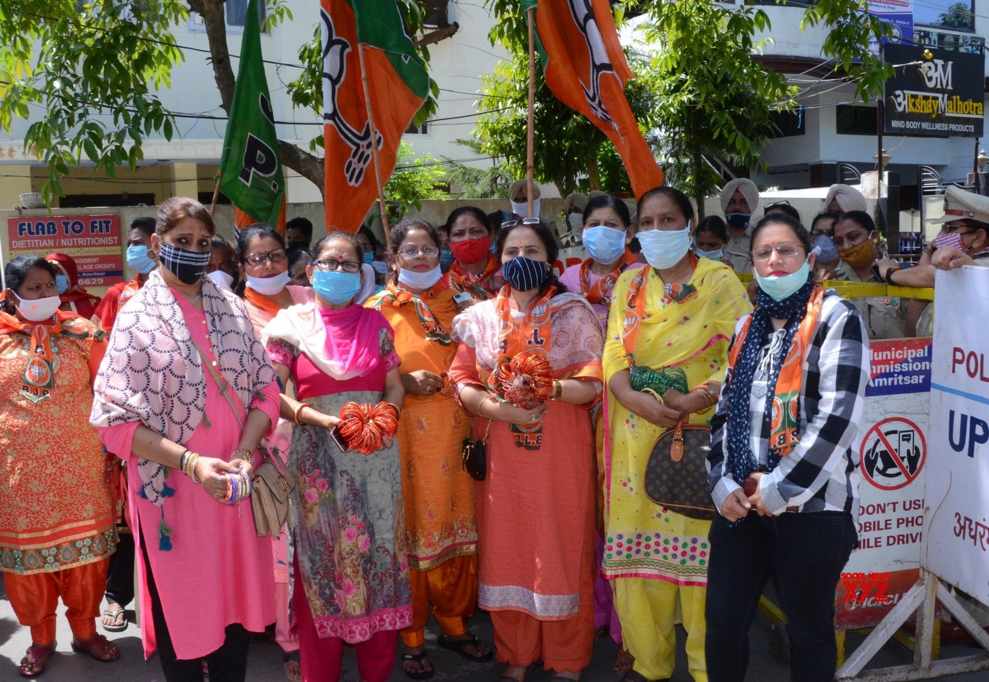 Amritsar: BJP Mahila Morcha activists during a protest against Punjab Government, in Amritsar #Gallery