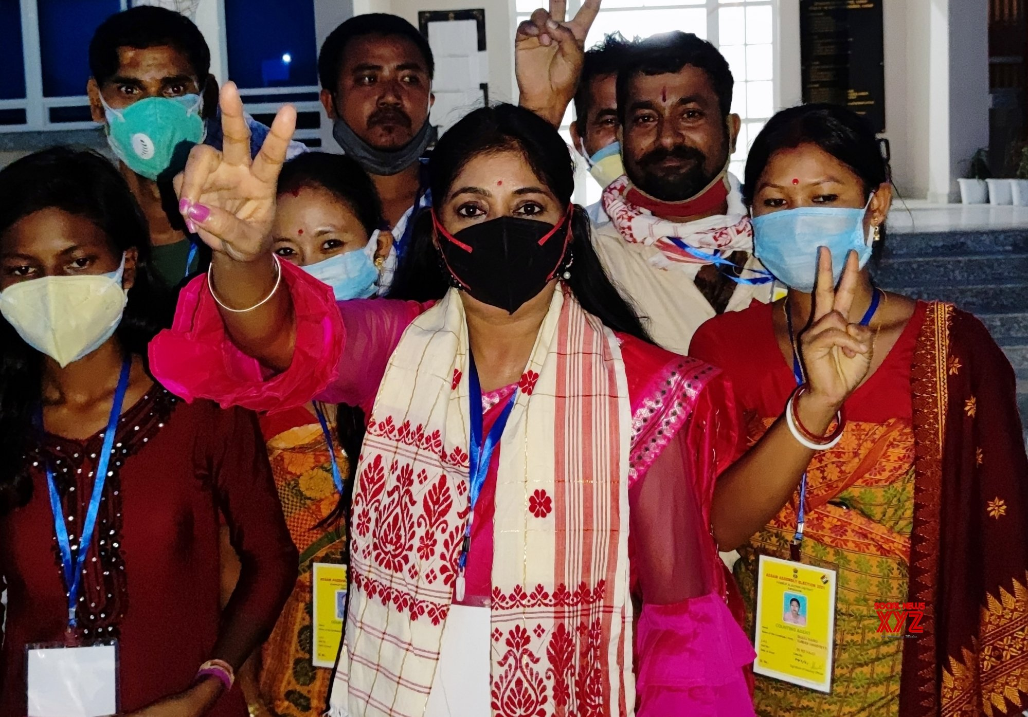 Guwahati: BJP candidate Suman Haripriya flashes victory sign after her win in the state assembly elections #Gallery