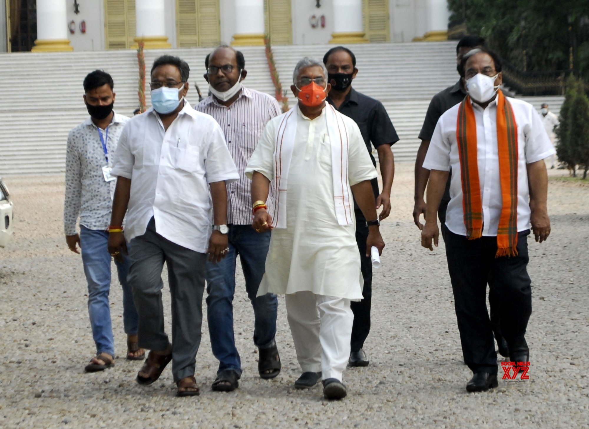 Kolkata : BJP delegation team led by party State President Dilip Ghosh comes out from Raj Bhawan after meet with Governor of West Bengal, Jagdeep Dhankar on post election violence in Kolkata on May 3, 2021 #Gallery