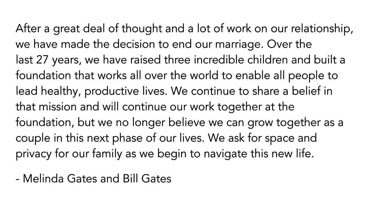 Bill Gates And Melinda Gates Are Ending Their 27 Years Marriage