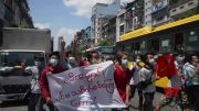 Myanmar coup protesters stage 'flash mob' rally (Video)