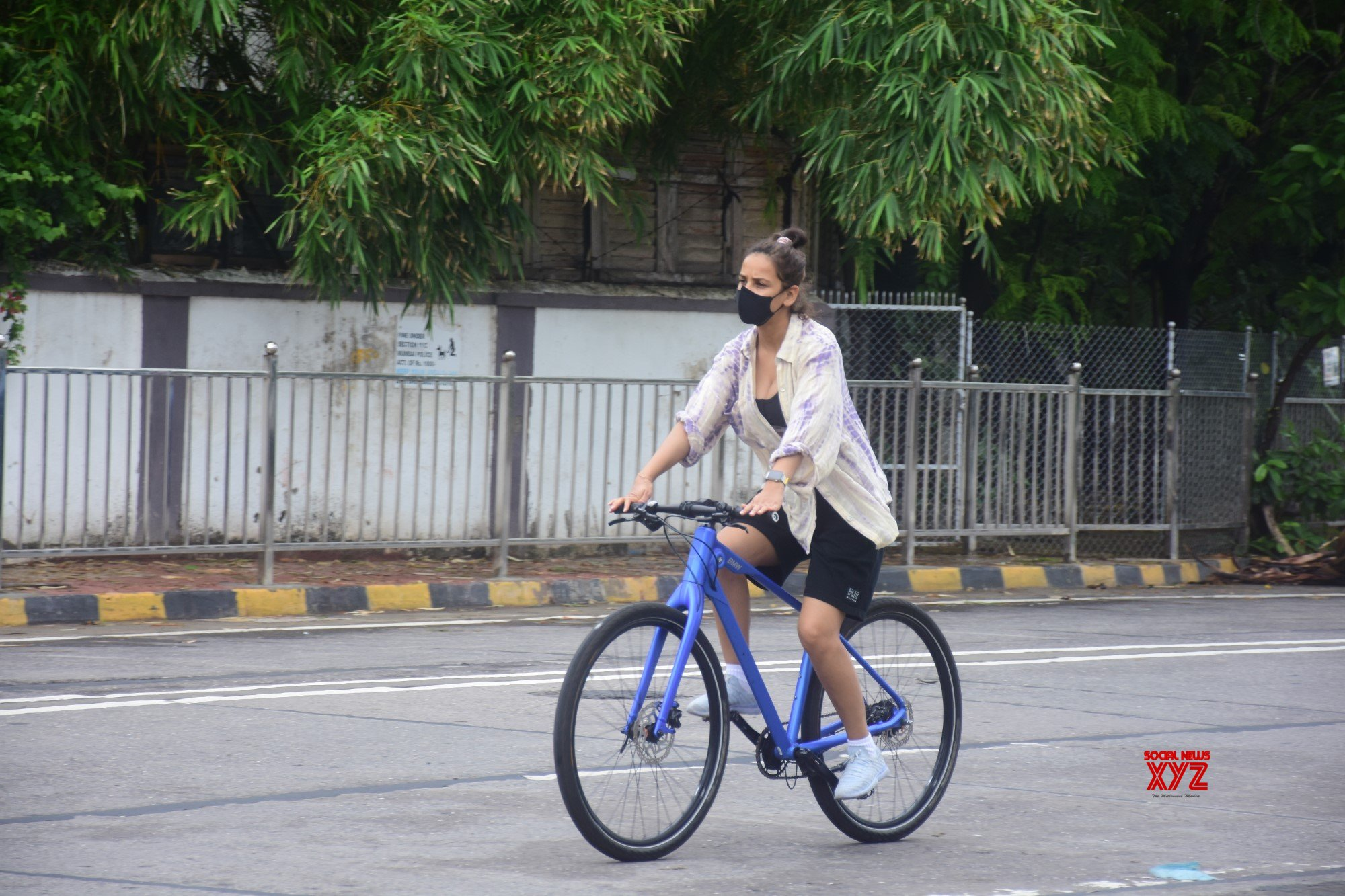 Actress Aisha Sharma Spotted Riding Cycle On The Street In Bandra - Gallery