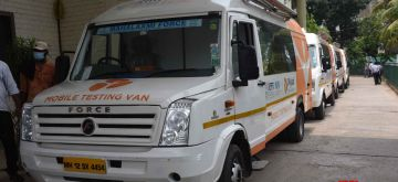 Patna :  Bihar state health minister Mangal Pandey launch 'My Lab' RTPCR testing mobile van, in Patna on Thursday 10 June 2021. (Photo: AFTAB ALAM SIDDIQUI/ IANS)