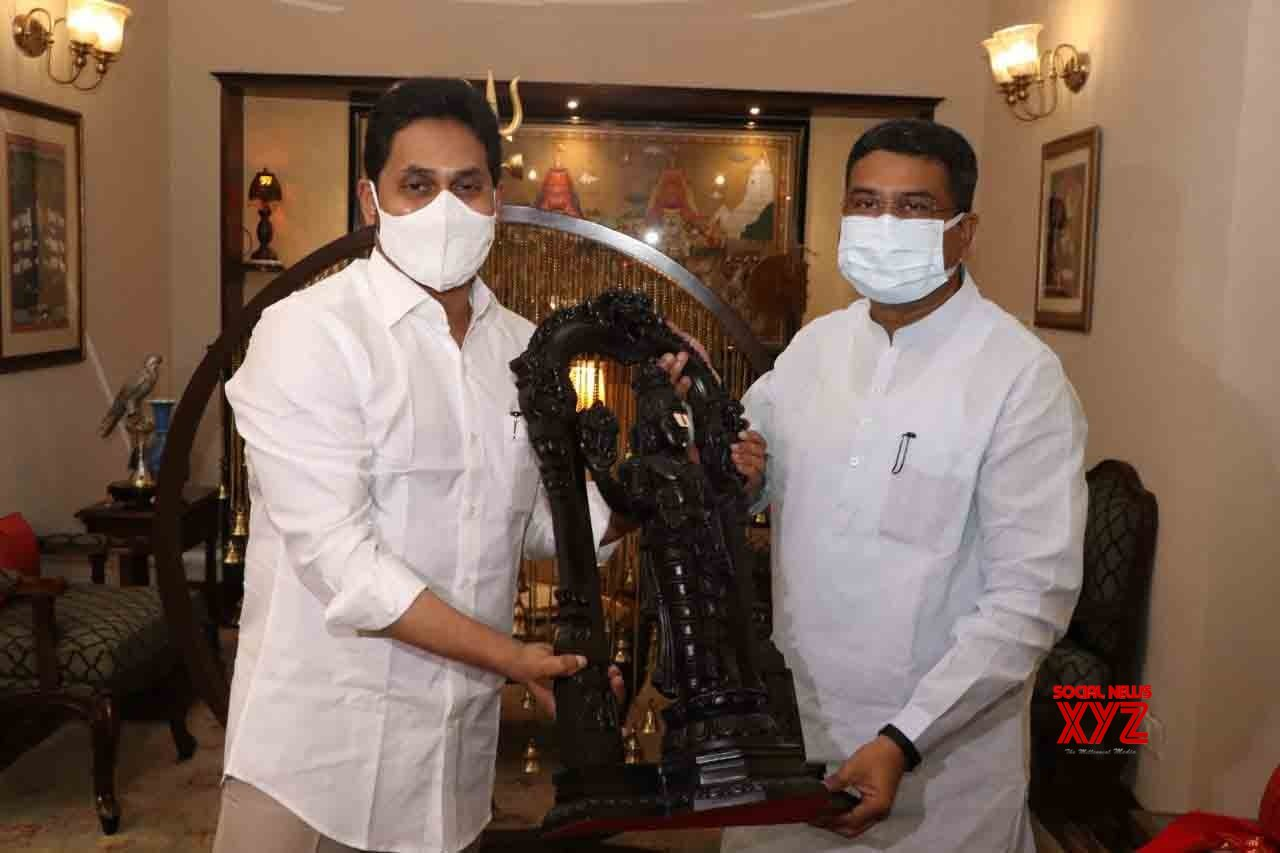 Hyderabad : Andhra Pradesh Chief Minister YS Jagan Mohan Reddy has met Union Steel Minister Dharmendra Pradhan in Hyderabad. #Gallery