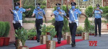 New Delhi: Vice Chief of Air Staff, Air Marshal Vivek Ram Chaudhari, PVSM, AVSM, VM during the inspection of Guard of Honour at Air Headquarters Vayu Bhawan in New Delhi on Thursday July 01, 2021.(Photo: Wasim Sarvar/IANS)