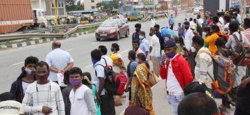 Bengaluru: KSRTC busses waiting to pick up Tamil Nadu state passengers at Hosur, Tamil Nadu Border, amid ongoing Coronavirus lockdown, in Bengaluru on Sunday, July 11, 2021. (Photo: IANS)