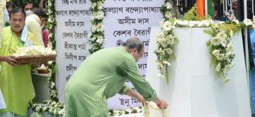 Kolkata: TMC leaders and West Bengal Ministers paying tributes on the occasion of Martyrs day on Wednesday, July 21, 2021, observed in memory of those killed on July 21 in 1993. (Photo: Kuntal Chakrabarty/IANS)