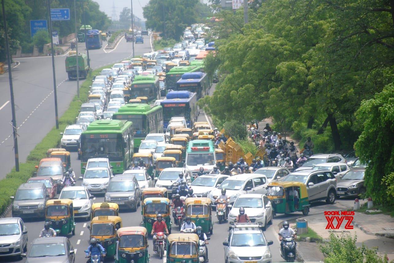 New Delhi: A huge traffic jam at Ring Road near ITO in New Delhi. #Gallery