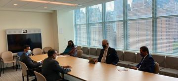 India's Permanent Representative to the UN, T.S. Tirumurti, hold discussions with General Assembly President Volkan Bozkir.(pic credit: https://twitter.com/volkan_bozkir)