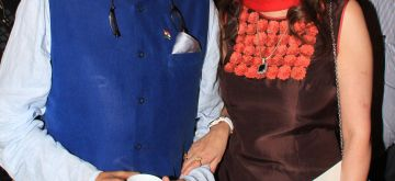 File Photo of Union Minister of State for Human Resource Development Shashi Tharoor and his wife Sunanda Pushkar during an event. The minister was in news after tweets posted on his verified account, got twitterati all abuzz due to the very personal nature of the posts. Tharoor and his wife Sunanda Pushkar Thursday issued a joint statement saying they are distressed by an `unseemly controversy` over some `unauthorised tweets` posted from their Twitter accounts and that both are `happily married and intend to remain that way`. (Photo: IANS)