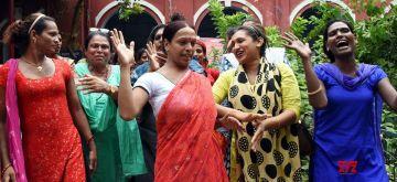 Patna : Transgender people protest against forced conversion outside Kotwali police station in Patna on Monday, September 13, 2021. (Photo: Indrajit Dey/IANS)