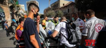 Rescuers work at the scene of a stabbing attack near the central bus station in Jerusalem, on Sept. 13, 2021.. (JINI via Xinhua/IANS)