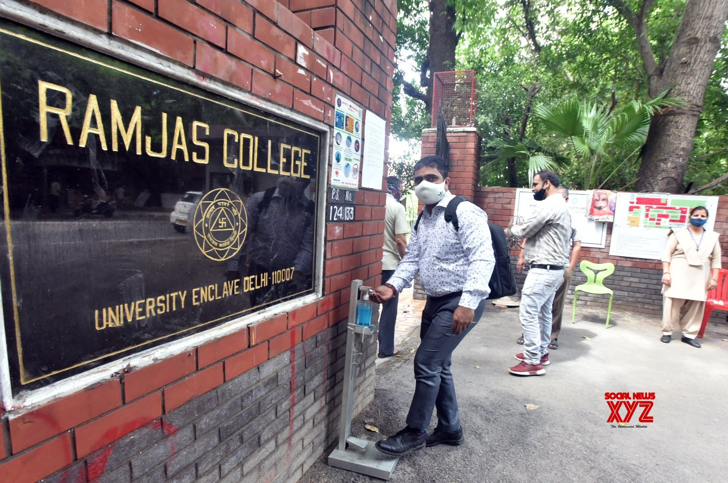 New Delhi: Students arrive for attending first day college re open at ramjas college at delhi university in New Delhi on Wednesday. 15,September #Gallery