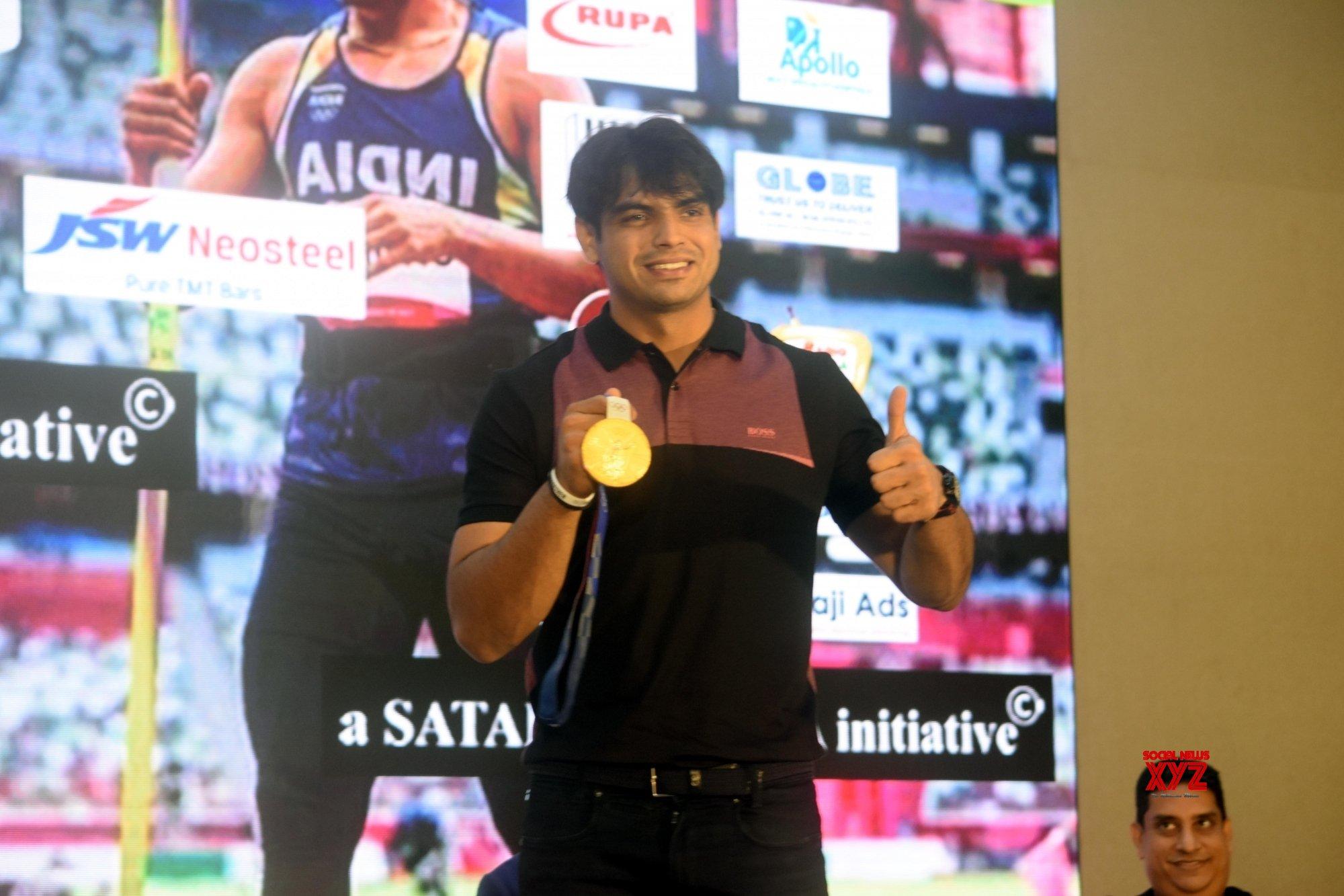 Kolkata : Tokyo Olympic gold medallist javelin thrower Neeraj Chopra during a promosonal program in Kolkata on Sep 15, 2021. #Gallery