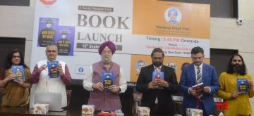 New Delhi: Union Minister Hardeep Singh Puri and others release a book Modi Stole My Mask: The Truth About India's Covid Crisis at constitution club in New Delhi on Thursday, September 16, 2021.(Photo: Anupam Gautam/IANS)