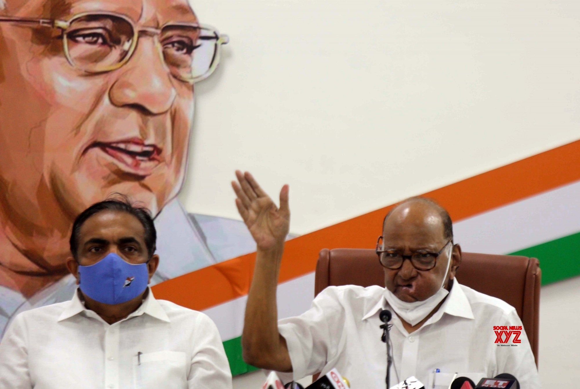 Mumbai:Maharashtra NCP President Jayant Patil along with Nationalist Congress Party Chief Sharad Pawar during a Press Conference . #Gallery
