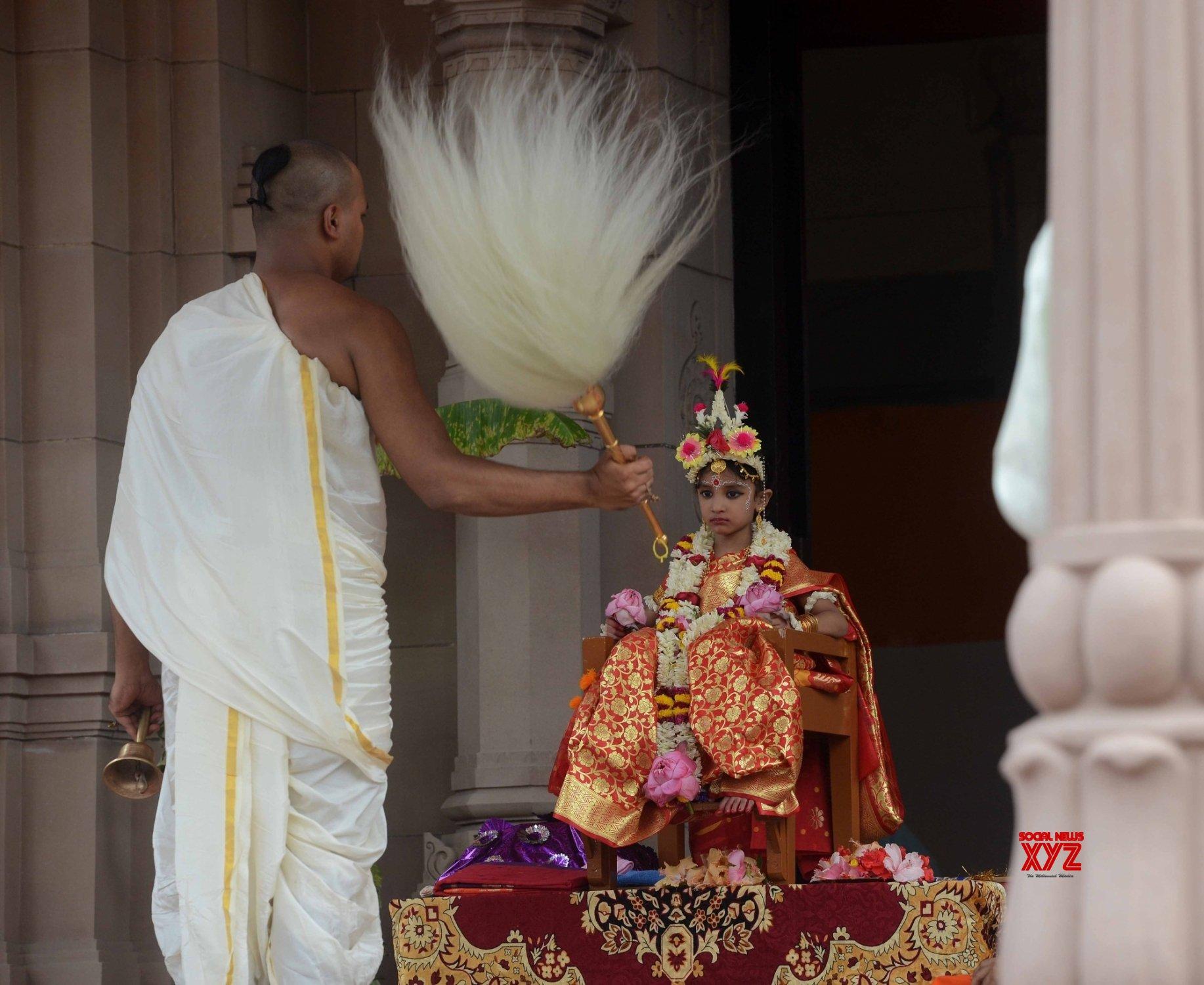 Kolkata : Priest performing Kumari puja on the occasion of Maha Asthami at Ramakrishna Mission in Belur Math Howrah on October 13, 2021. #Gallery