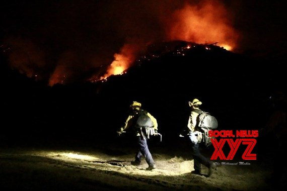 Firefighters work to contain the Alisal Fire in Santa Barbara County, California, the United States, Oct. 13, 2021 #Gallery