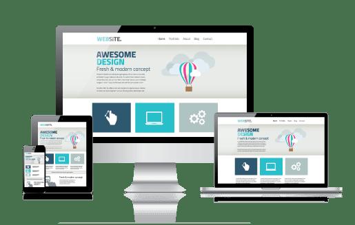 Responsive Website Design showing Computer, laptop, tablet & phone