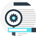 seo icon of gear and a page