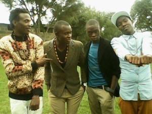samita and boys standing outside