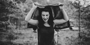 black and white social enterprise career break volunteer walking through forest