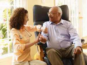 Home health worker BP 300x225 Aging in Place: It Can Be Detrimental to Your Health