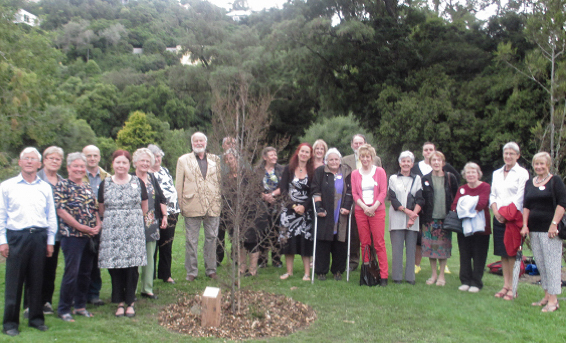 Attendees at the Otago Branch tree ceremonial C50 tree planting.