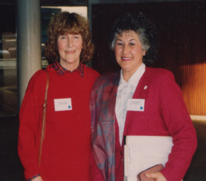 Kara Coombes and Lynette Stewart (President) at the Wanganui Conference, 1993.