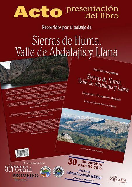 Presentación libro «Sierras de Huma, Valle de Abdalajis y Llana», 30 de octubre a las 20.30h.