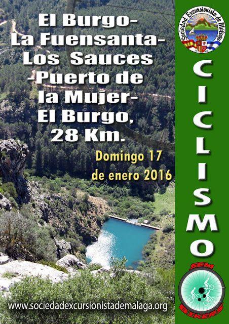 Ruta ciclista El Burgo-La Fuensanta-Los  Sauces-Puerto del Mujer-El Burgo, 17 de enero 2016