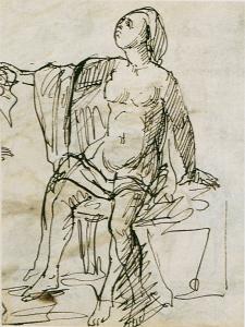 C0055 Étude de femme drapée, assise 58-61